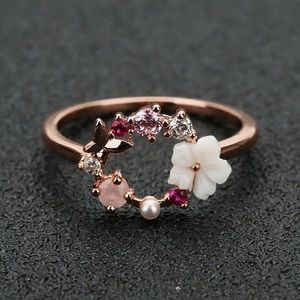Floral pink gold plated ring size 7